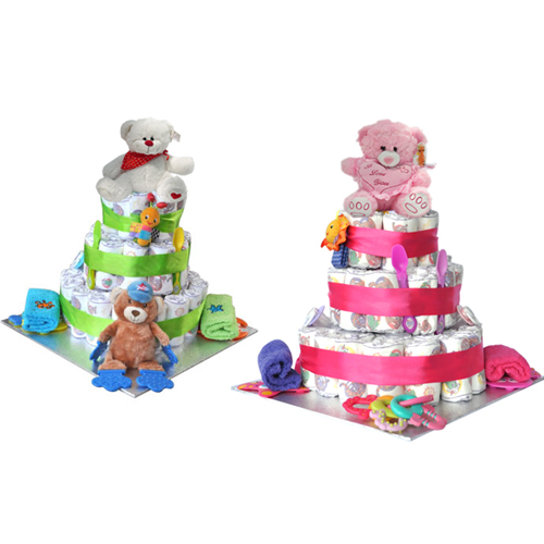 Baby Gift Hampers Under $50 : Tier baby nappy cake absolutely fabulous gift